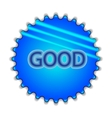 Big blue button labeled good vector