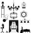Retro furniture silhouettes vector