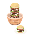 Big cheese burger in a brown basket vector