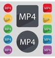 Mpeg4 video format sign icon symbol set of colored vector