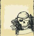 Skull pirate - retro card vector