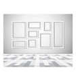 Interior picture frames on white wall vector