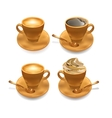 Set of isolated realistic cup of coffee vector