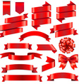 Red ribbons big set vector