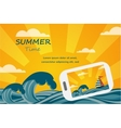 Summer tropical concept background smartphone make vector