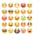 Cartoon facial expression smile icons set vector