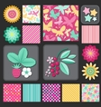 Flowers and berries stars and dots vector