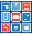 Set of 8 retro icons with office furniture vector