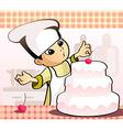 Confectioner baking a cake vector