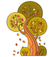 Autumn apple tree in decorative style vector