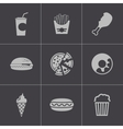 Black fast food icons set vector