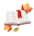 Open book with bookmark and autumn leaves vector