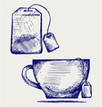 Tea bag and cup vector