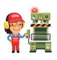 Female factory worker is working on press machine vector