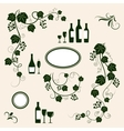 Winery design object silhouettes vector