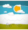 Abstract trees clouds mountain sun on retro torn vector