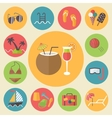 Summer and vacation icons set flat design vector