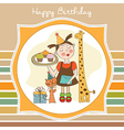 Happy birthday card with funny girl animals and vector