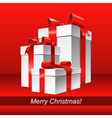 Christmas red background with white gift box vector