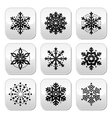 Christmas or winter snowflakes buttons set vector