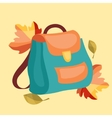 Book bag backpack school bag with autumn leaves vector