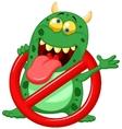 Cartoon stop virus - green virus in red alert sign vector