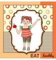 Pretty young girl recommends healthy food vector