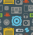 Audio equipment icons color seamless pattern vector