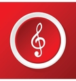 Treble clef icon on red vector