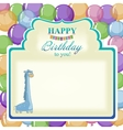 Childrens greeting background with blue giraffe vector