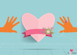 Hands holding heart heart paper with floral vector
