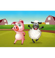 A pig and a sheep dancing at the farm vector