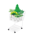 Green trees and plants in a shopping cart vector