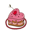 Sweet heart cake isolated on white vector