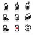 Green shake green smoothie jar icons set vector