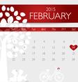 Valentines day 2015 calendar february vector