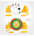 Casino roulette money poker cards game set vector