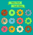 Delicious donuts doodle collection vector