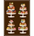 Set of sweets on plates vector