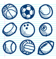 Doodle sport ball icons vector
