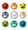 Group of dog face in the circle vector