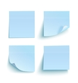 Set of blue sticky notes vector