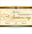 50 years anniversary diploma vector
