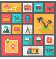 Travel and vacation icons set flat design vector