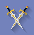 Icon of ancient swords flat style vector