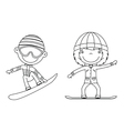 Cute cheerful kids flying on a snowboard vector