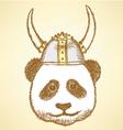 Viking helmet panda vector