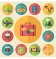 Travel tourism and vacation icons set flat design vector