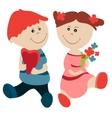 Cartoon girl and boy vector