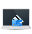 Modern laptop with bank cards vector